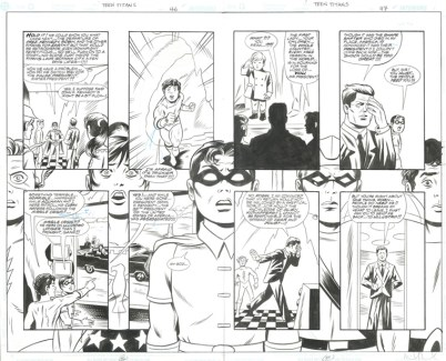 """TEEN TITANS LOST ANNUAL (2003) JFK - Bob Haney, Jay Stephens & Mike Allred (signed), Issue #1, Pages 46 & 47: Full Team Double Page Splash with JFK in Elseworld Scenario, 22"""" x 17"""" $1,500"""