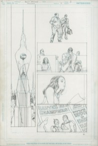 """ALL STAR SUPERMAN (2007) Grant Morrison (signed) & Frank Quitely, Issue #7, Page 3: Earth's New Champions, graphite on board, 11"""" x 17"""" $3,000"""