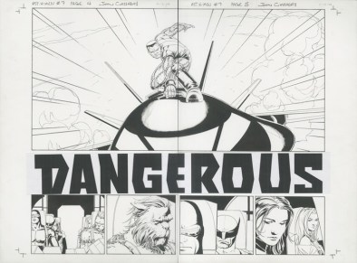 """ASTONISHING X-MEN (2005) DOUBLE SPLASH - Joss Whedon & John Cassaday, Issue #7, Pages 4 & 5: Colossus Returns to Battle / Full Team Double Splash Title Page, Graphite and ink on board with text inlay, 22"""" x 17"""" $4,500"""