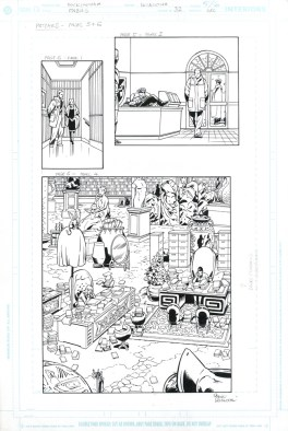 "FABLES (2005) THE MEAN SEASONS - Bill Willingham, Mark Buckingham & Steve Leialoha (signed), Issue #32, Page 5 & 6: The Library Splash & Patches 11"" x 17"" $500"