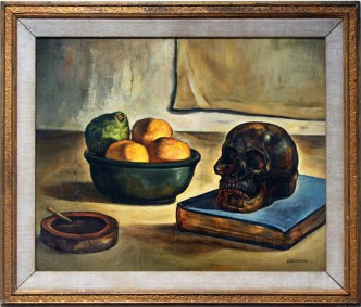 Christopher Ulrich - Still Life Skulloil on canvas, 21 x 17.5 in. (26.5 x 23.5 in. framed) $1,400