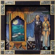 "Harold Fox – Deco Partygoers Oil on Layered Masonite. 21x21"" in custom frame $1,000 Sold"