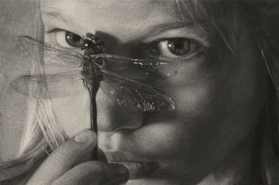Annie Murphy-Robinson - Dragonfly EyesCharcoal on paper, 19 x 13 in. (24 x 18 in. framed) $3,800