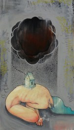 Joshua Lawyer - Where the Hurt IsColor pencil, graphite, acrylic, ink, spray paint on wood, 15.5x12 in., $600