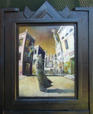 "Harold Fox - Becoming a Non Person Oil on masonite. 10.75x13.5"" in 16.75x19.25"" custom frame $750 Sold"