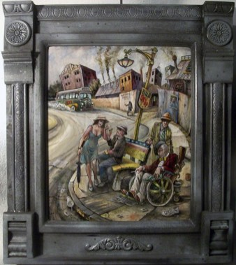 "Harold Fox - Bus of Fools Oil on masonite. 12x14.25"" in 18x20.25"" custom frame $950 Sold"