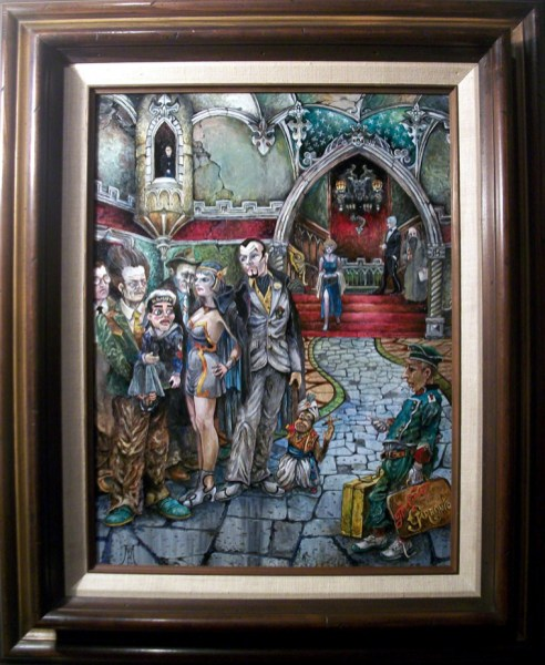 """Harold Fox - Hotel Hexen Oil on masonite. 12x16"""" in 19x23"""" frame $950 Sold"""