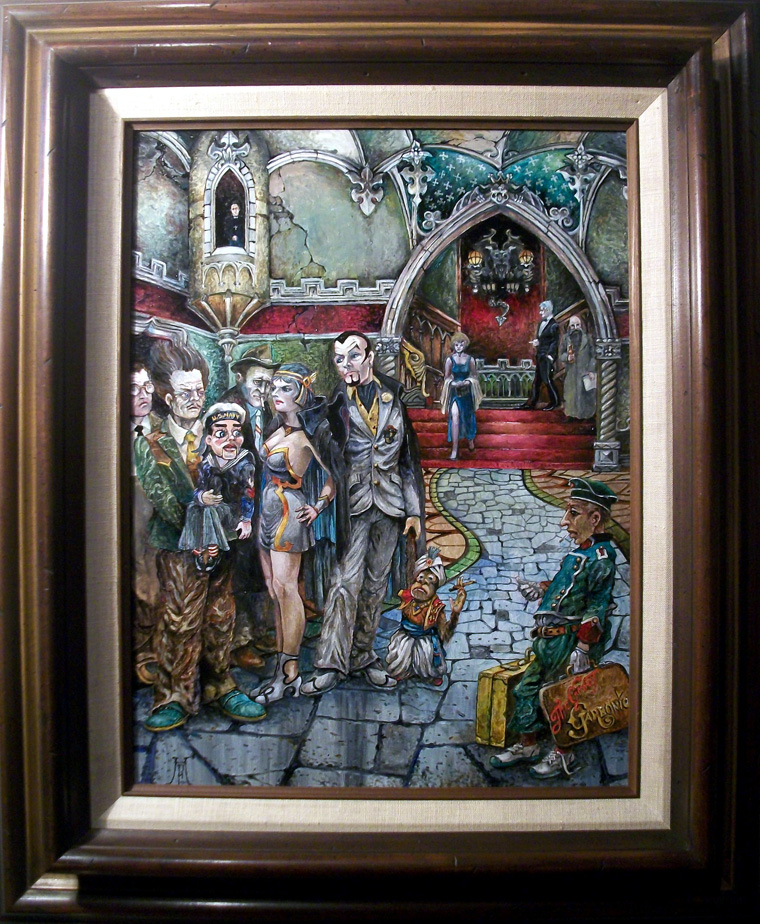 "Harold Fox - Hotel Hexen Oil on masonite. 12x16"" in 19x23"" frame $950 Sold"