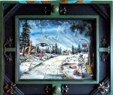 "Harold Fox - Moon Gas Oil on masonite. 15x12"" in 21.5x18.5"" custom frame $775 Sold"