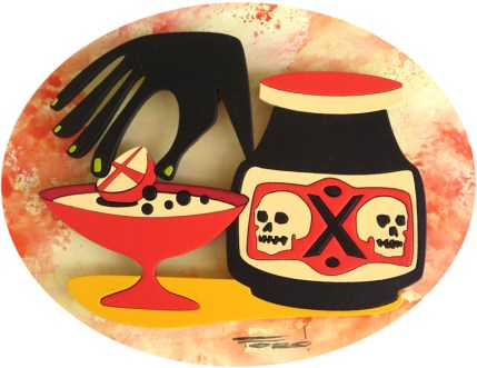 "Michelle Bickford - Not Your Grandma's Cocktail acrylic on cut and shaped masonite, 5x4"" (7.5x6.5"" framed), $600 Sold​"