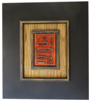 """Michelle Bickford - Paradise Cove Wenge wood veneer 3D sculpture, 5.5x7.25"""" (15.75x17.5"""" framed with vintage grasscloth), $900"""