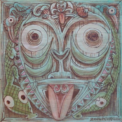 "Ken Ruzic - Sepik River Sentinelpyrography on wood with acrylic tinting, 8x8"" (woodburning thatching texture on sides) $250"
