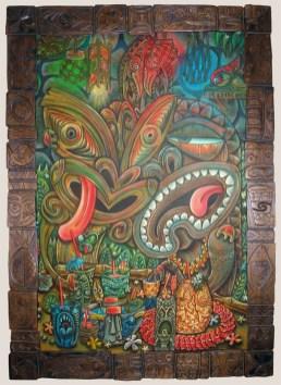 "Ken Ruzic - Too Much InformationAcrylic on wood, 24x36"" (29.5x41"" in frame carved by Derek Weaver), $2,500 Sold"