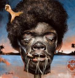 """Scott Scheidly - Shrunken Hip Hop HeadAcrylic, 9.75x9.75"""", (13.75x13.75"""" framed), $800"""