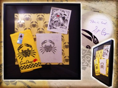 """Brad """"Tiki Shark"""" Parker - Chef Sam Choy Hawaiian Tattoo Crab Designgraphite, ink on paper, with velour giclée, and taps-hand-made-cloth in 28x30 in. frame $4000 Sold"""