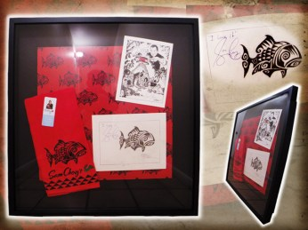 "Brad ""Tiki Shark"" Parker - Chef Sam Choy Hawaiian Tattoo Fish Designgraphite, ink on paper, with velour giclée, and taps-hand-made-cloth in 28x30 in. frame $4000 Sold"