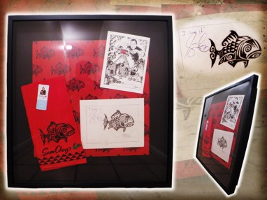 """Brad """"Tiki Shark"""" Parker - Chef Sam Choy Hawaiian Tattoo Fish Designgraphite, ink on paper, with velour giclée, and taps-hand-made-cloth in 28x30 in. frame $4000 Sold"""