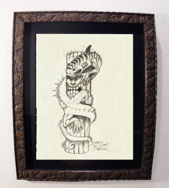 "Brad ""Tiki Shark"" Parker - Dragon & TIKI (drawing)pencil on paper, framed 13x16 in.$375"