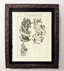 "Brad ""Tiki Shark"" Parker - Fink Dragon VS Souvenir TIKI - Statue Concept drawingpencil on paper, framed 13x16 in.$375"