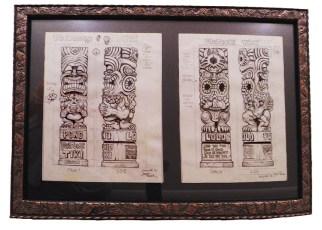 "Brad ""Tiki Shark"" Parker - Fortune Tiki (2 drawings)pencil on paper, framed 23x16 in.$750"