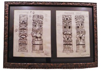 "Brad ""Tiki Shark"" Parker - Fortune Tiki (2 drawings)pencil on paper, framed 23x16 in.$750"