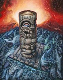 "Brad ""Tiki Shark"" Parker - Kon Tiki Dream IIAcrylic on canvas, 38x48 in. $3750"