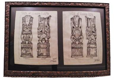 "Brad ""Tiki Shark"" Parker - Long Life Tiki (2 drawings)pencil on paper, framed 23x16 in.$750"