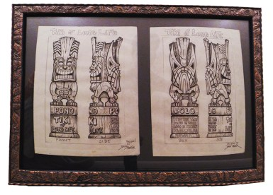 "Brad ""Tiki Shark"" Parker - Long Life Tiki (2 drawings)pencil on paper, framed 23x16 in.$750"