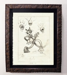 "Brad ""Tiki Shark"" Parker - Scaredy Cat Wakes the Dead (drawing)pencil on paper, framed 13x16 in.$375 Sold"