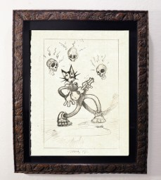 """Brad """"Tiki Shark"""" Parker - Scaredy Cat Wakes the Dead (drawing)pencil on paper, framed 13x16 in.$375 Sold"""