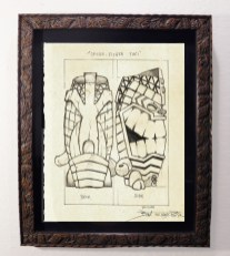 "Brad ""Tiki Shark"" Parker - Spear-Fisher Tiki-Mug Back (drawing)pencil on paper, framed 13x16 in.$375"