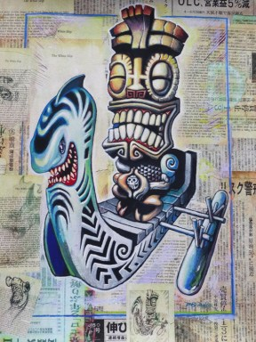 "Brad ""Tiki Shark"" Parker - Kea Moku: The White Ship (painting)Acrylic on newspaper, framed 16x21 in. Sold"