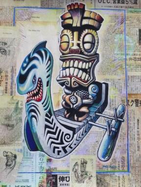 "Brad ""Tiki Shark"" Parker - Kea Moku: The White Ship (painting)Acrylic on newspaper, framed 16x21 in. Sold"