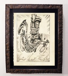 """Brad """"Tiki Shark"""" Parker - The White Ship (drawing)pencil on paper, framed 13x16 in.$375 Sold"""