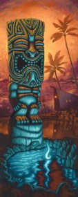 """Brad """"Tiki Shark"""" Parker - Tiki of the Blue Pool IIAcrylic on canvas, 24x60 in. $3750 Sold"""