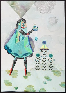 "Bunnie Reiss - Cosmic Offering. acrylic, gouache on paper, 14x20"", $1000"