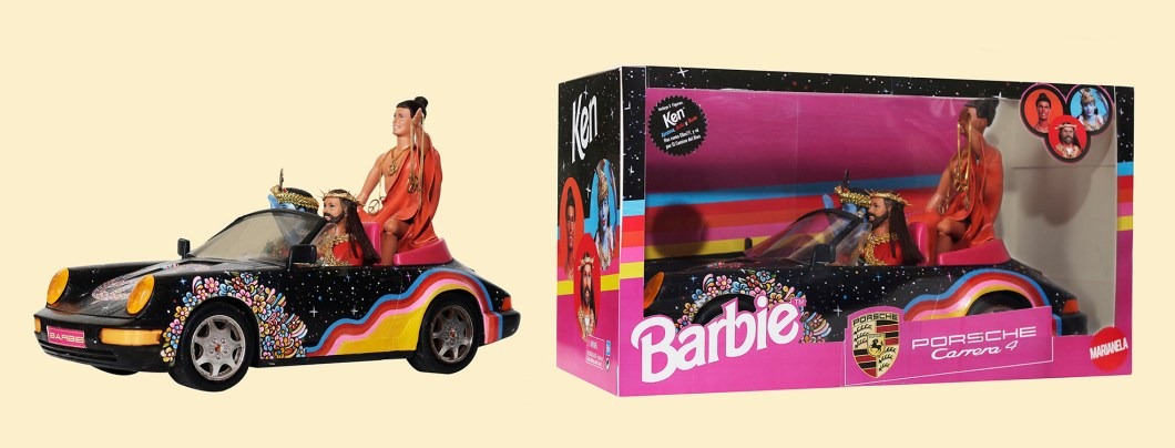 Pool & Marianela - Auto Enlightenment Barbie Porsche 911 with Ken as Christ, Buddha & Krishna. $TBA