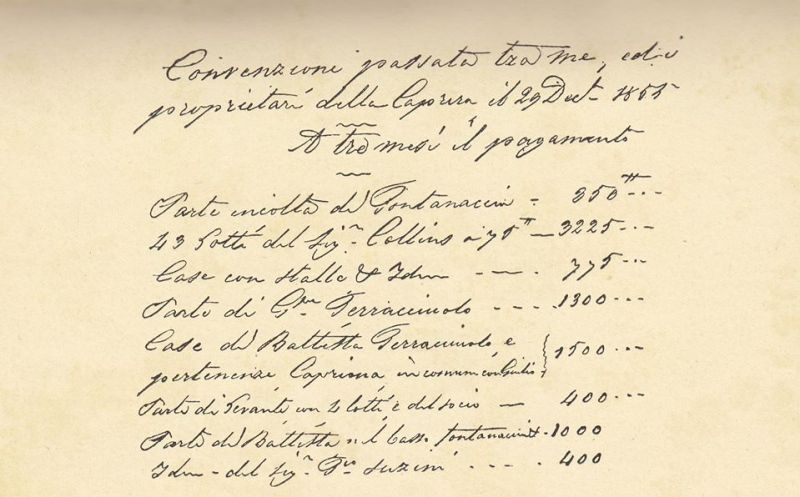 Documento di Garibaldi realtivo all'acquisto di Caprera 1855
