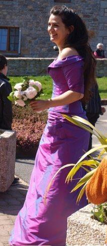 robe de mariée a manche soie violine