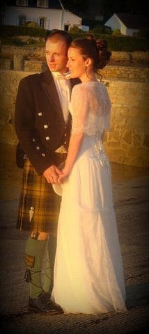 Robe de mariée corset dentelle soie kilt