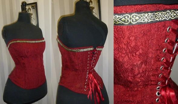 Corsets à vendre Victorien Tissu broché rouge bordeaux - galon médiéval (possibilité sans) Convient à une taille 38/40/42 Bonnet B ou C -190 €