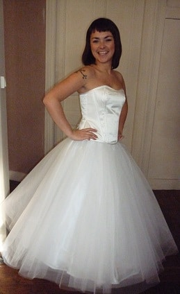 Robe de mariée corsetée jupon tulle blanc