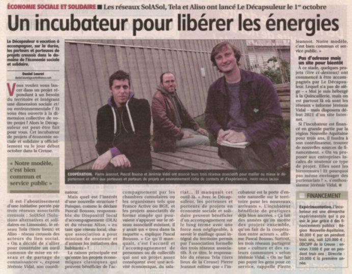 """Article """"un incubateur pour libérer les énergies"""""""