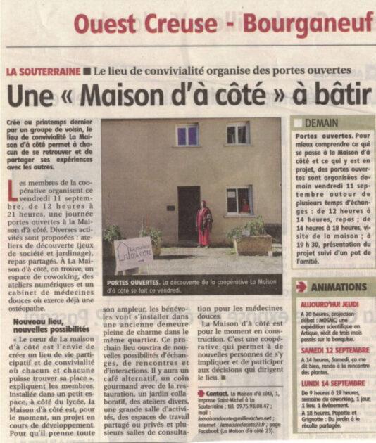 """Article """"une Maison d'à Côté à bâtir"""""""