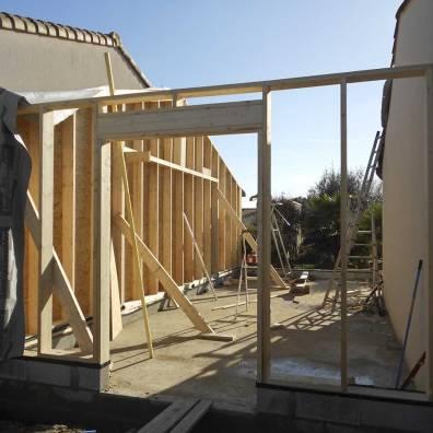 Ossature bois en cours de réalisation