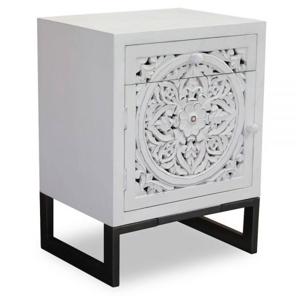table de chevet bois sculpte calm blanc