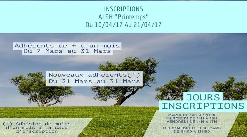 Inscriptions «Vacances Printemps»