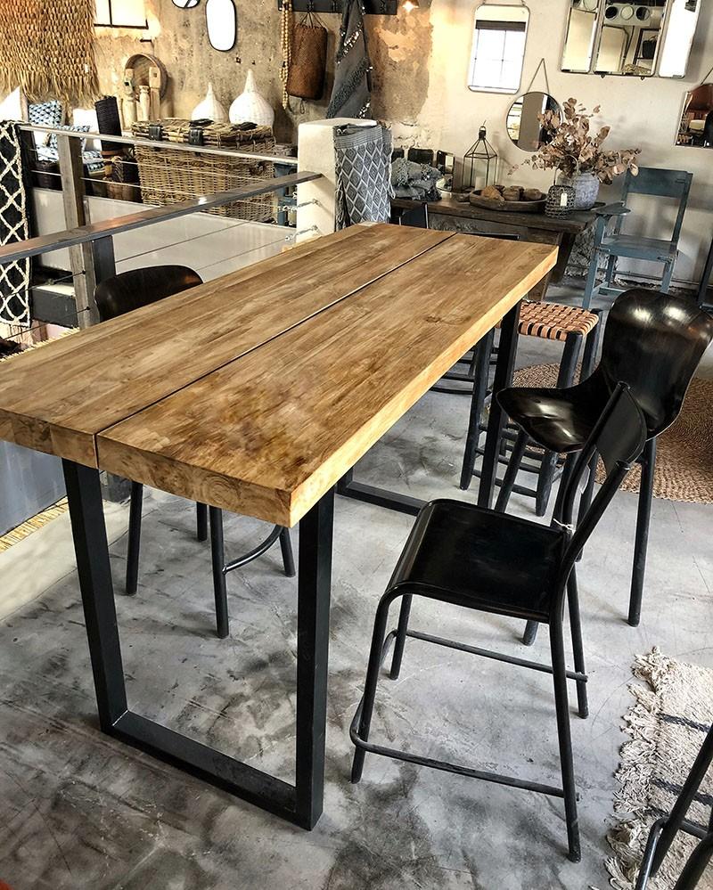table blok mange debout en teck metal brosse la maison pernoise