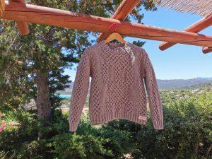 Pull d'Aran en coton bio argile