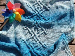 Couverture bébé bleu lagon dégradé vue dans son ensemble